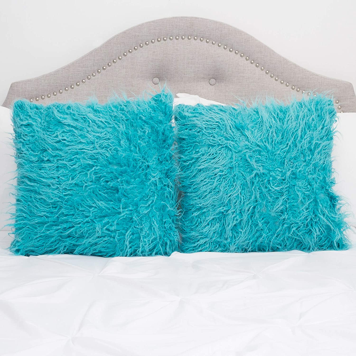 Sweet Home Collection Decorative Throw Pillows Set of 2 Mongolian Long Hair Faux Fur Accent Soft and Fuzzy Cushion, Turquoise Blue
