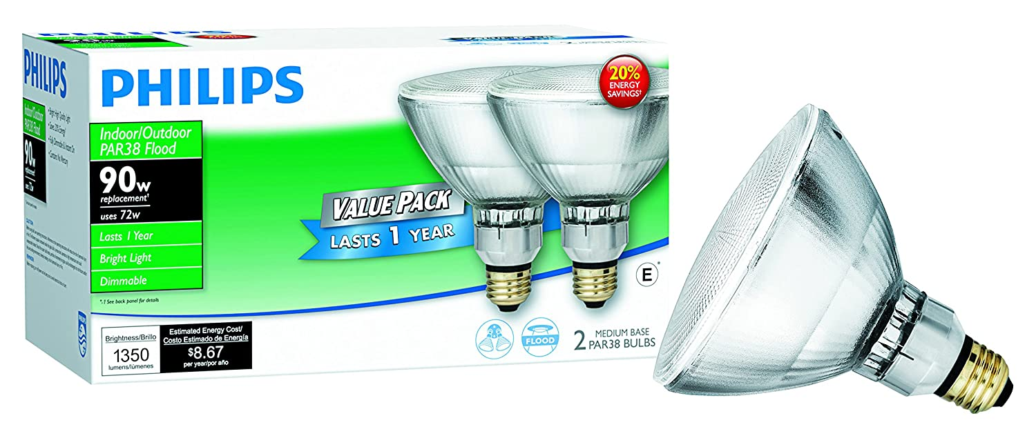 Philips 429373 Halogen PAR38 90 Watt Equivalent Dimmable Flood ...