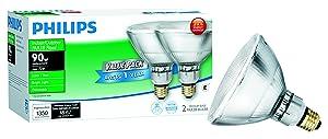 Philips 429373 Halogen PAR38 90 Watt Equivalent Dimmable Flood Standard Base Light Bulb, 2 Pack