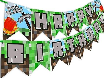 Amazon.com: Pop Party Píxel - Pancarta de cumpleaños con ...