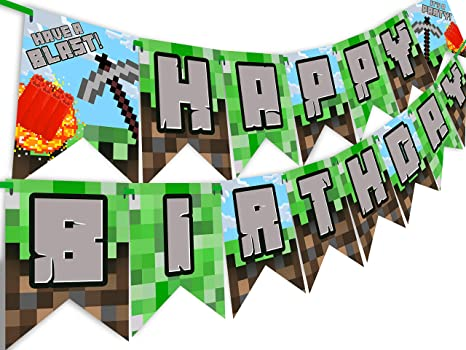 Pixel Party Kit 40 Pixel Balloons BB Pixel Party Decorations Pixel Party Supplies Miner Party Decorations PRE-STRUNG Happy Birthday Banner Miner Party Supplies