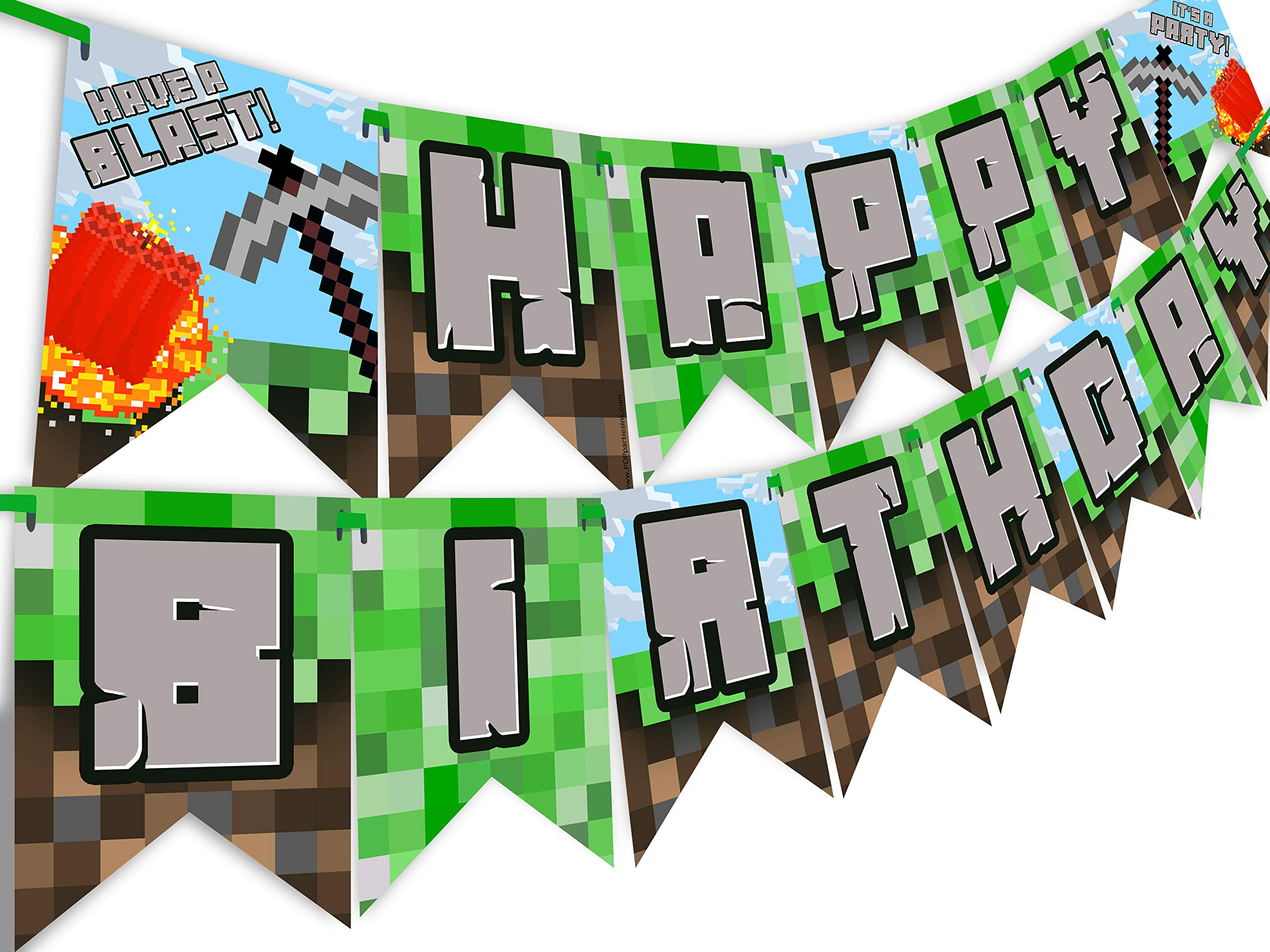 Pixel Party Happy Birthday Banner - Made in the USA - Blast