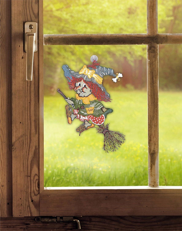 BxH Saughaken echte Plauener Spitze inkl Fensterbild V/öglein 28 x 32 cm