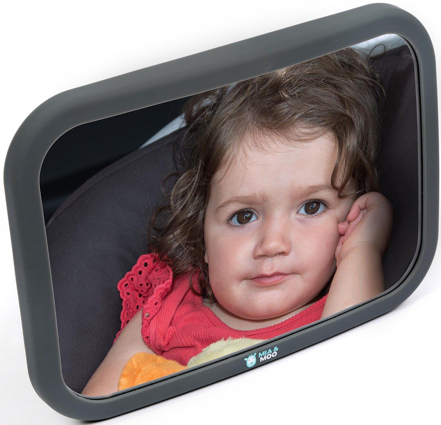 Baby Car Mirror for Rear Facing Infant- Back Seat Shatterproof Mirror with Perfect Reflection by Mia and Moo