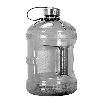 1 Gallon BPA FREE Reusable Plastic Drinking Water Bottle W Stainless Steel Cap Black