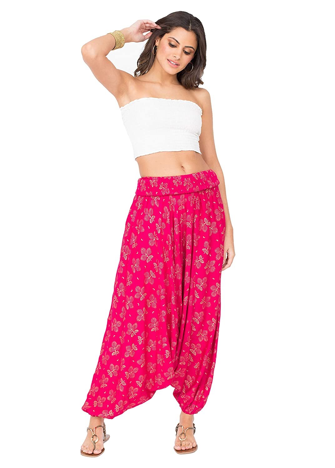 likemary Harem Genie Pants and Hareem Bandeau Jumpsuit Convertible 2 in 1 Romper for Women