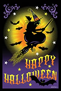 Toland Home Garden Flight of The Witch 12.5 x 18 Inch Decorative Happy Halloween Garden Flag