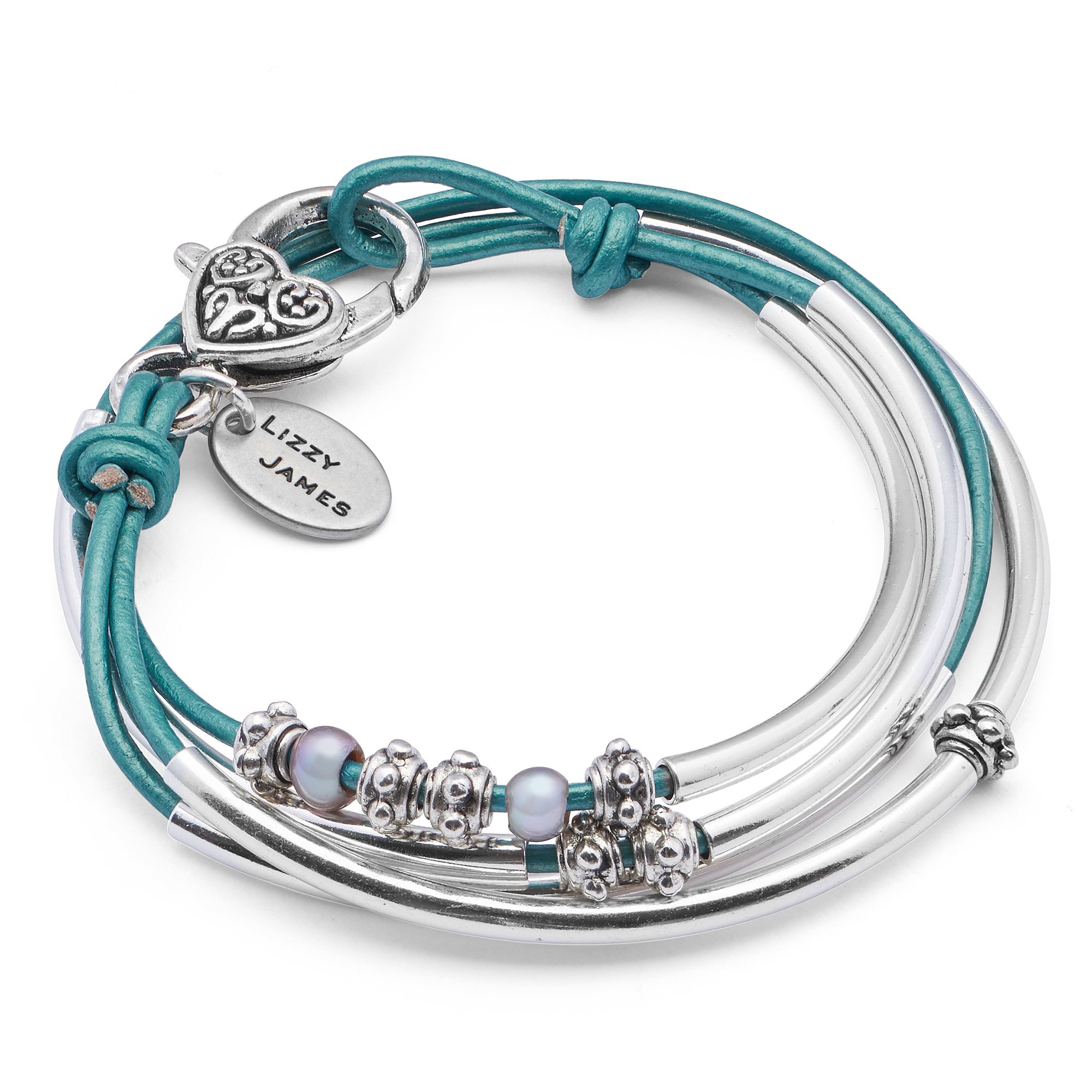 Lizzy James Mini Charmer Wrap Bracelet in Silverplate and Metallic Teal Leather with Small Freshwater Pearls (MEDIUM)