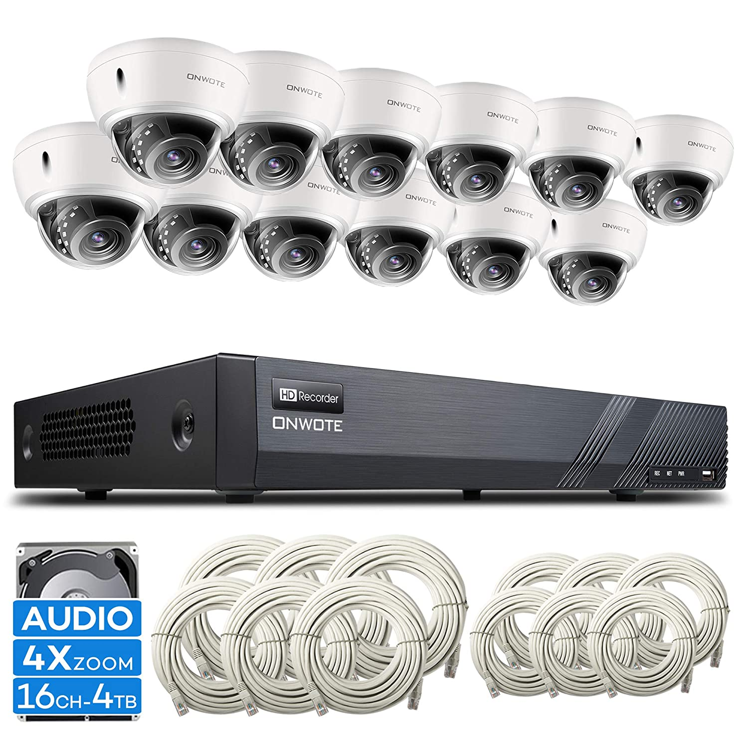 Expandable Audio ONWOTE 16 Channel 4K H.265 NVR 12 4X Optical Zoom Autofocus Audio PoE Security Camera System 4TB HDD, Vandalproof Dome, 2.8-8mm Motorized Lens Outdoor 5MP IP PoE Camera, 100ft IR