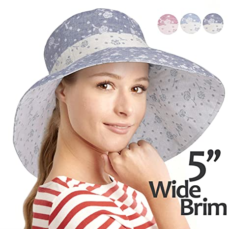 adc2072d89efd Image Unavailable. Image not available for. Colour  Women Summer Sun Hat  Protection Wide Brim Cap Foldable Floppy Bucket Hat