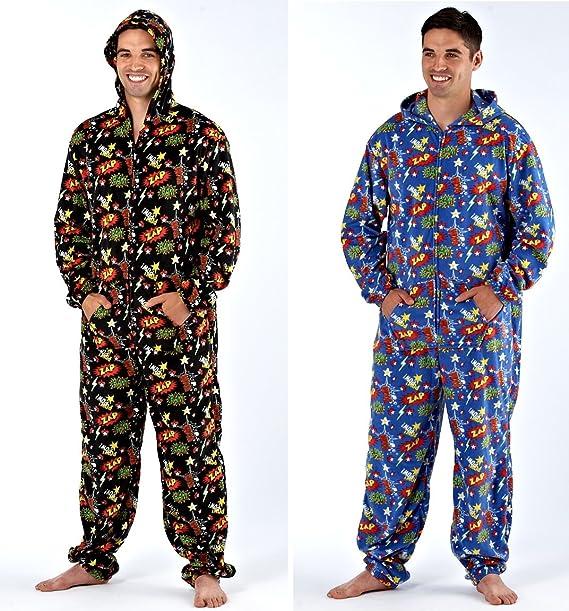 Para hombre Suave con capucha con texto de aborregado Zip Up pijama incluye el mono All