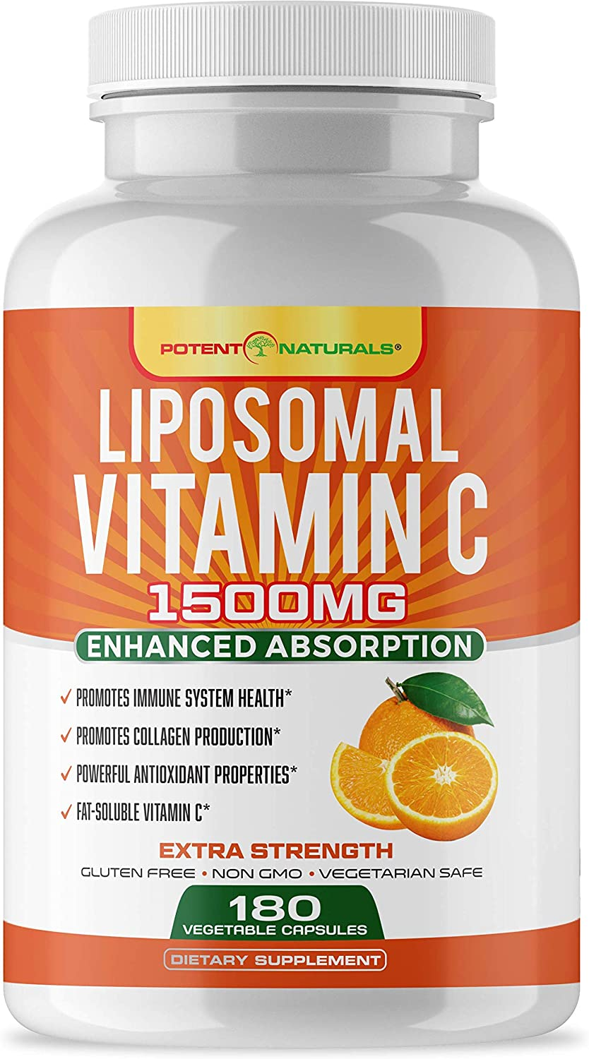 POTENT NATURALS Liposomal Vitamin C 1500mg 180 Vegan Capsules - Fat Soluble VIT C, High Absorption, Powerful Antioxidant & Immune Support, Collagen Booster, Anti-Aging Pills, Soy Free, Lypo spheric