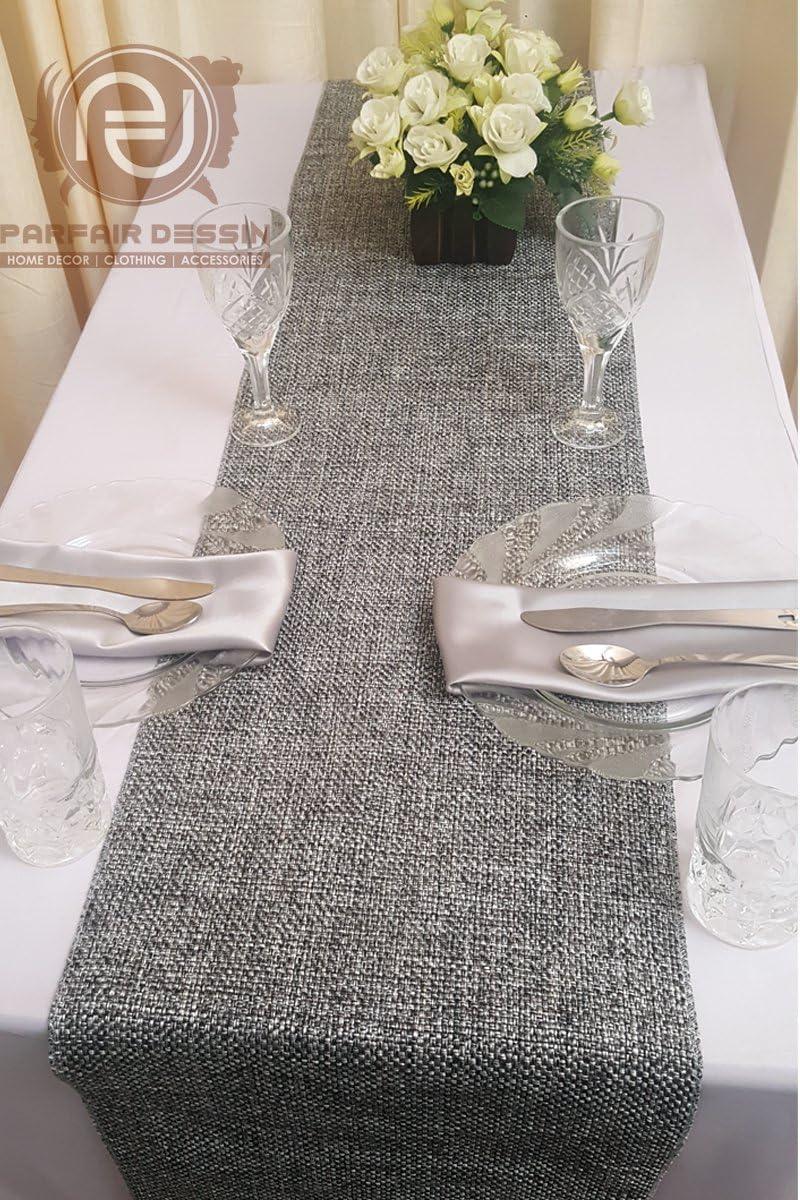 Parfair Dessin Burlap Jute-Cotton High Density Fabric Table Runner 13in. x 48in., Blue