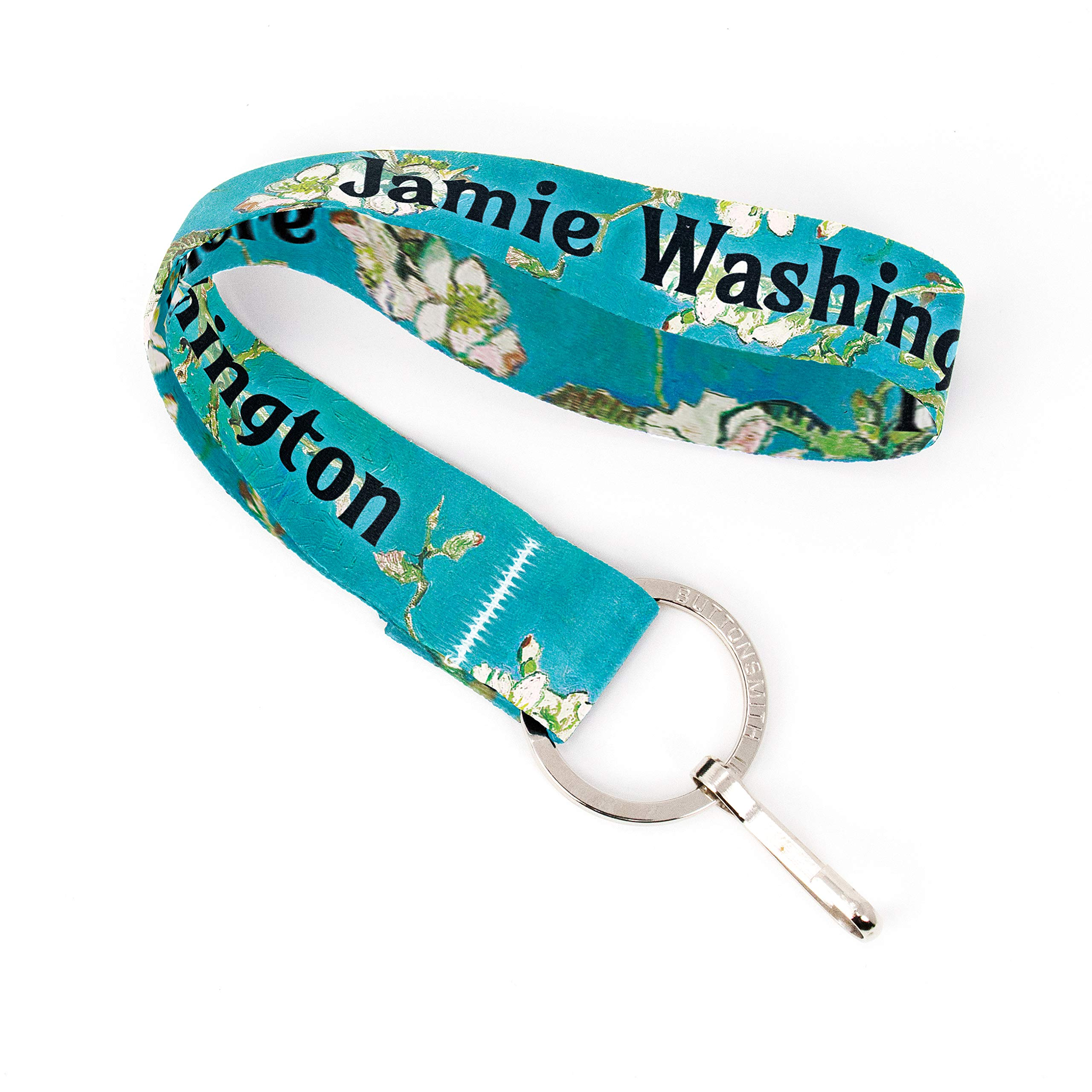 Buttonsmith Van Gogh Almond Blossom Custom Wristlet Lanyard - Customize with Your Name - Short Length with Flat Ring and Clip - Made in The USA by Buttonsmith