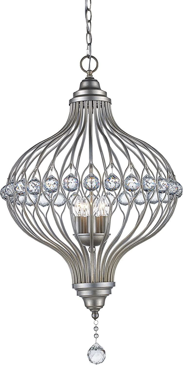 Trans Miami Mall Globe Lighting Gifts 10495 ASL Antique Alcira Leaf Indoor Silver