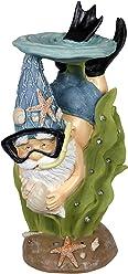"Exhart Snorkling Beach Bum Gnome Garden Statue, Solar Powered, Resin, 9"" L x 8"" W x 19"" H"