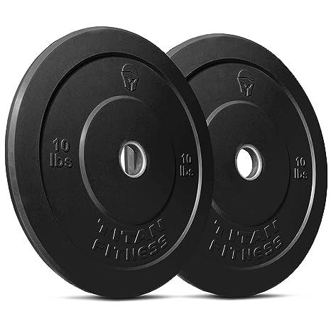 1b0c4452fa3 Amazon.com   Titan Fitness Pair 10 lb Olympic Bumper Plate Black Benchpress  Strength Training   Sports   Outdoors