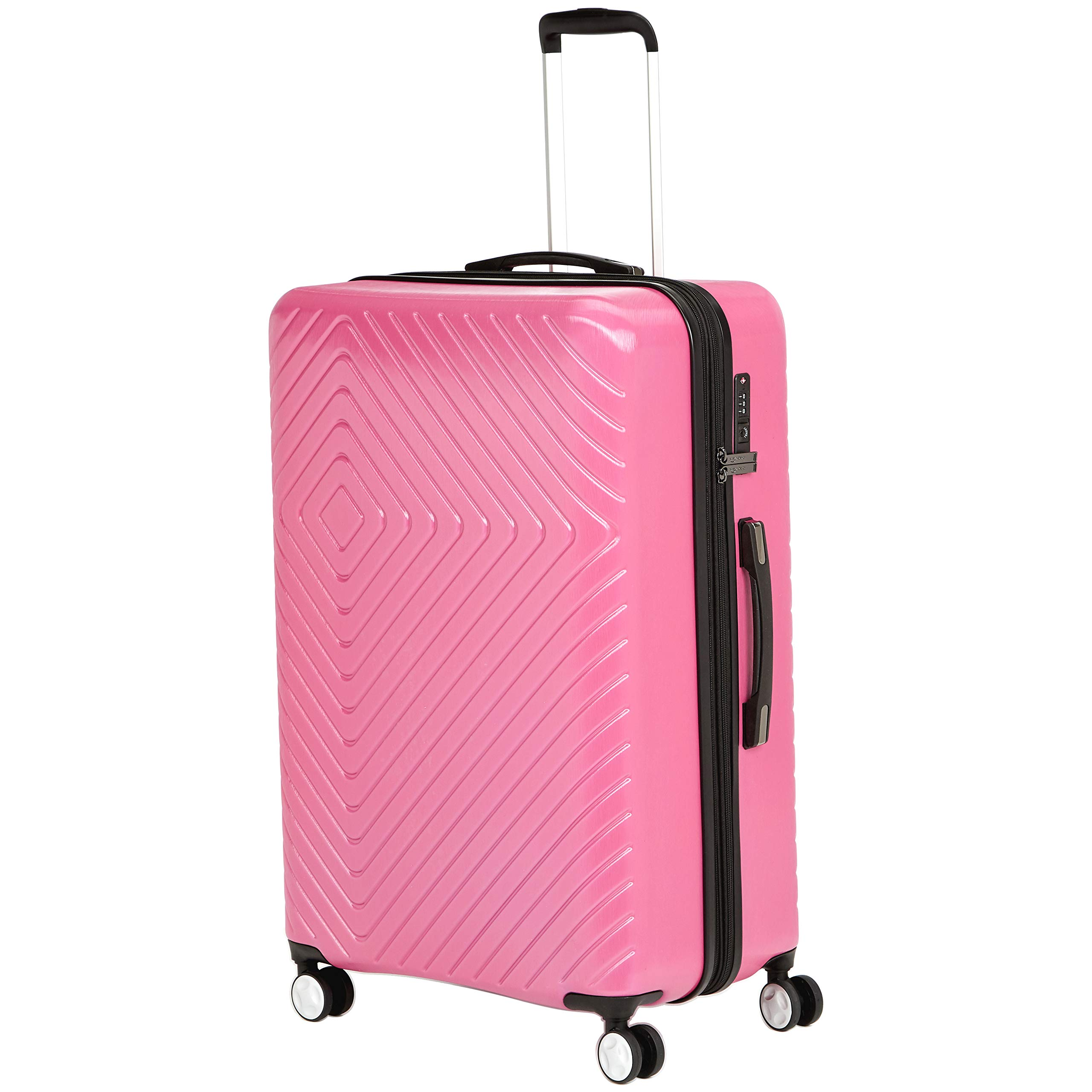 AmazonBasics Geometric Travel Luggage Expandable Suitcase Spinner with Wheels and Built-In TSA Lock, 28 Inch - Pink