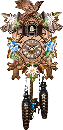 Adolf Herr Quartz Cuckoo Clock – Alpine Flowers AH 40 8 QM