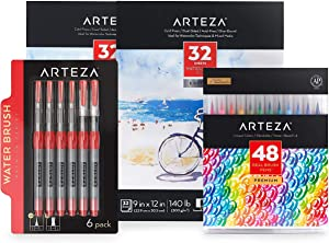 Arteza Real Brush Creative Bundle includes: Real Brush Pens, Watercolor Pads and Water Brush Pens, Drawing Art Supplies for Artist, Hobby Painters & Beginners