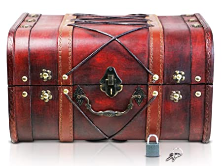 Brynnberg Wooden Pirate Treasure Chest | 2 Decorative Storage Box Suitcase  Model U0027Janis With Lining