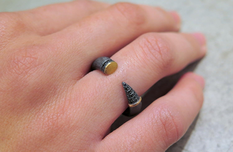 Amazon.com: Oxidized silver ring, Silver cuff ring, Sterling silver ...