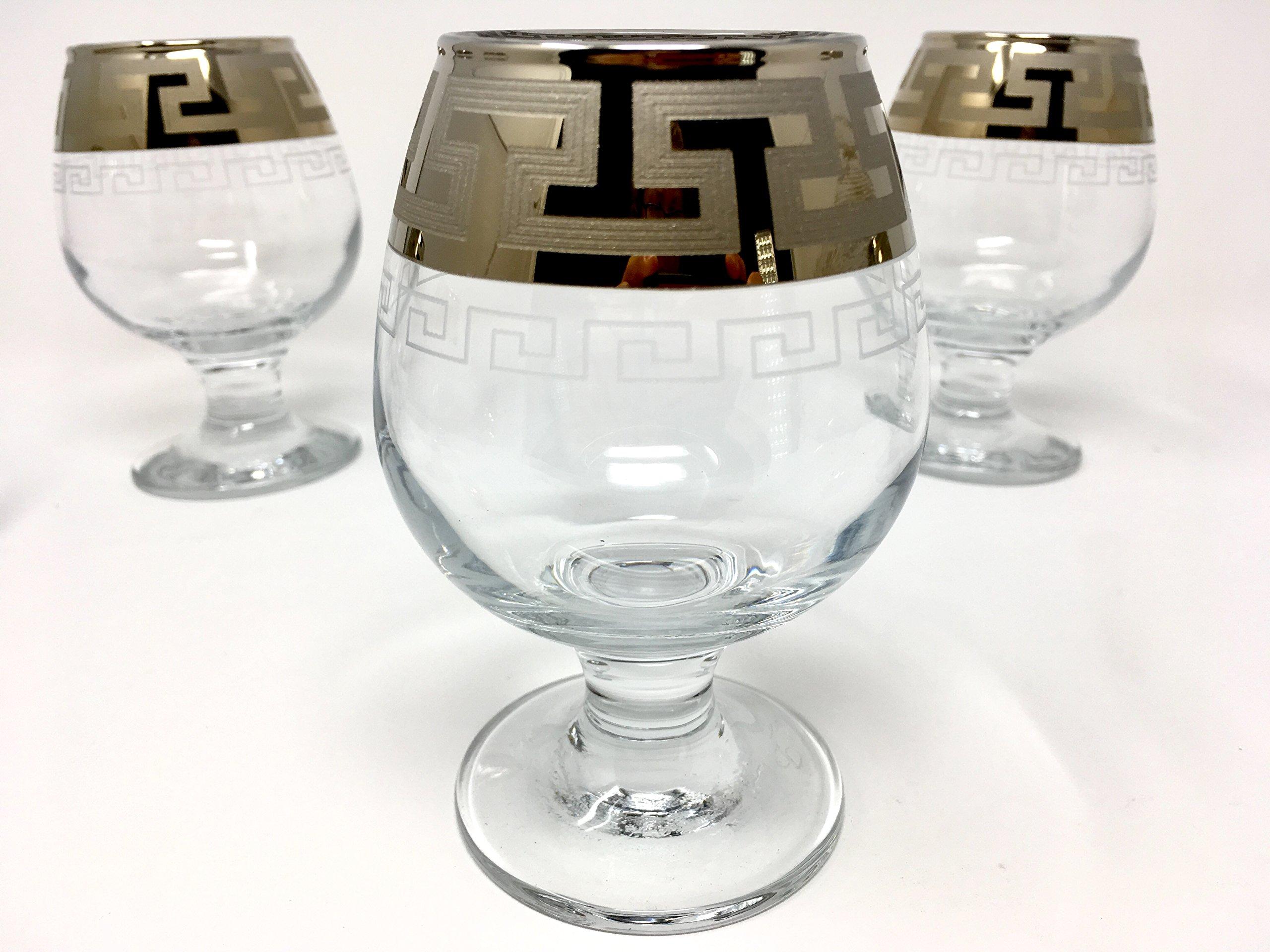 CRYSTAL GLASS SNIFTER GLASSES 8oz./250ml. PLATINUM PLATED SET OF 6 COGNAC BRANDY ARMAGNAC CALVADOS WHISKEY GLASSES ENGRAVED VINTAGE GREEK DESIGN CLASSIC STEM GOBLETS by VelvetPlace (Image #3)