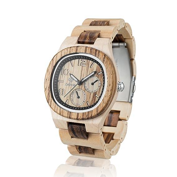 Reloj de madera ZEITHOLZ – Tannenberg - 100% de Madera de Arce y Zebrano -