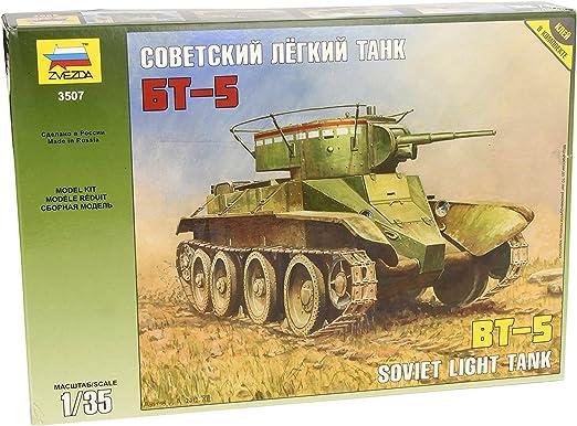 Outletdelocio. Zvezda 3507E. Tanque sovietico BT-5 con Calcas Españolas. Version Guerra Civil Española. Maqueta de Montaje. Escala 1/35: Amazon.es: Juguetes y juegos