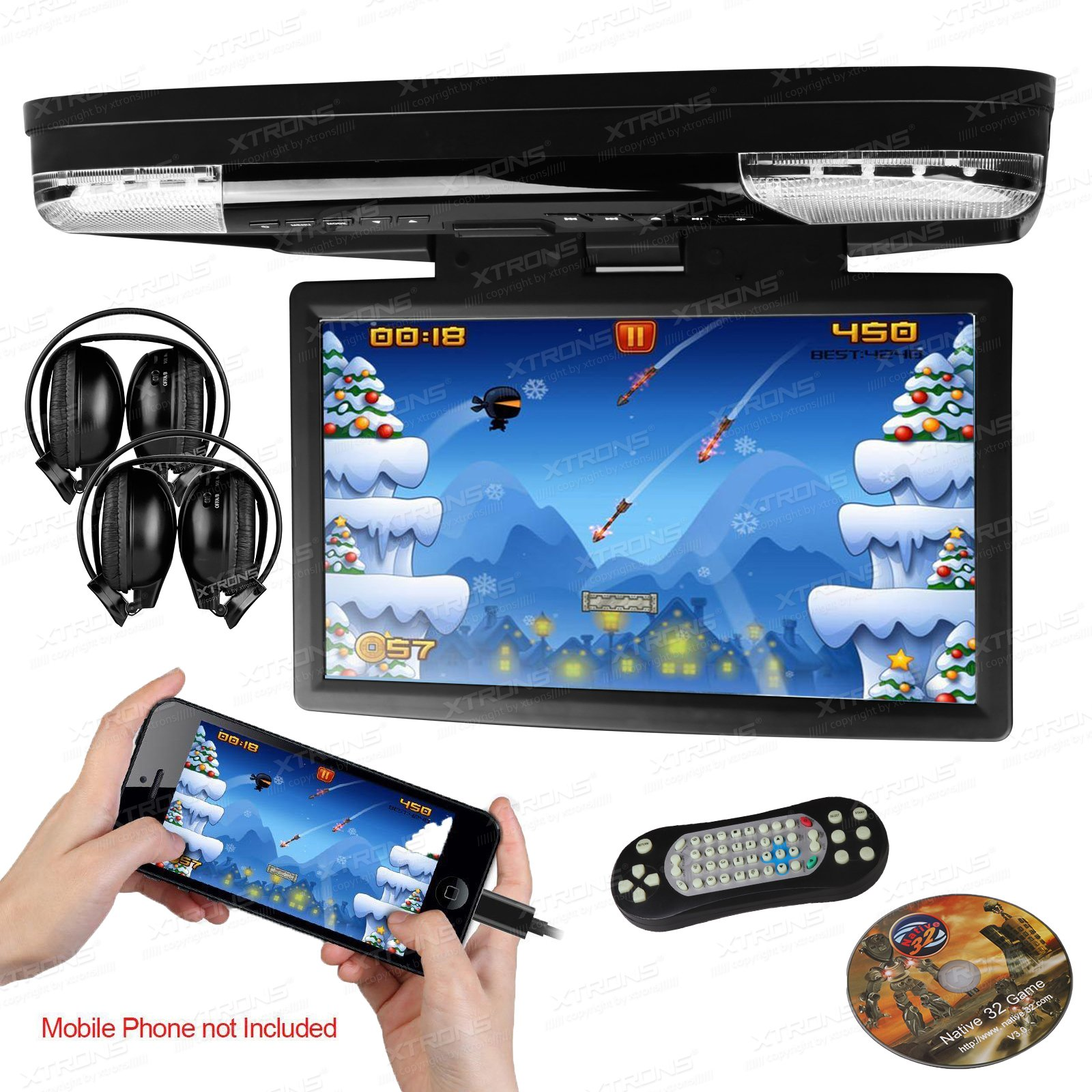 XTRONS 15.6 Inch 1080P Video HD Digital Widescreen Car Overhead Coach Caravan Roof Flip Down DVD Player Game Disc HDMI Port IR Headphones Included