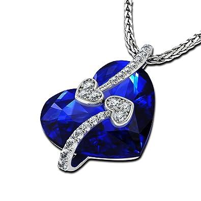 9db319edecc9 DEPHINI - collares mujer - collar niña con colgante corazon con pequeñas  circonita y plata de