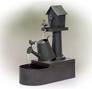 Alpine Corporation MAZ260 Alpine Metal Tiering Birdhouse, 24 Inch Tall Watercan Fountain, 24