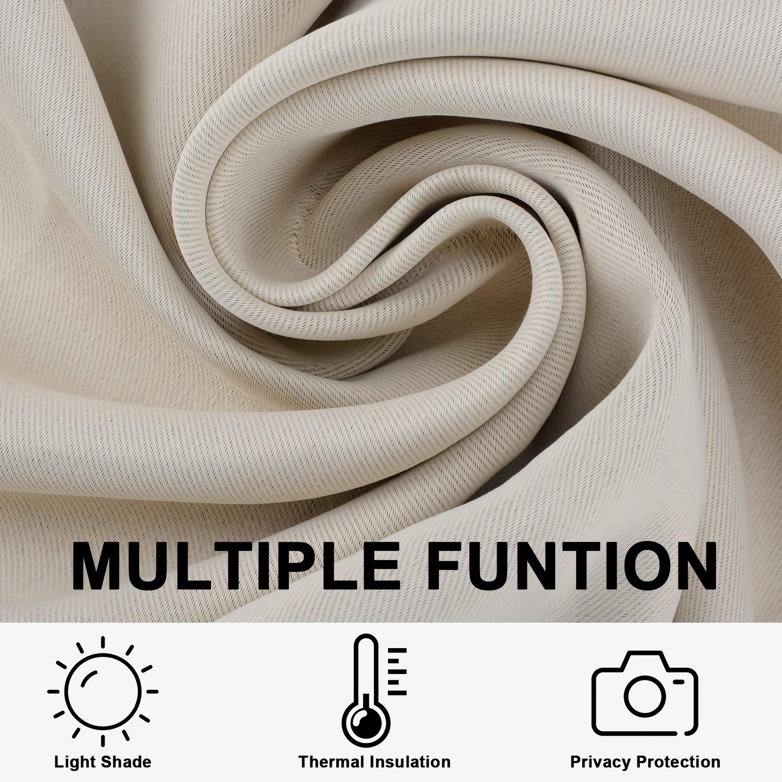 Voilarmart Blackout Curtains 52 x 63 Thermal Insulated Light Reducing Grommet Top Window Curtain Set for Bedroom, Living Room,2 Panels - Beige