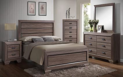 Amazon Com Kings Brand 6 Piece Black Brown Wood Modern King Size