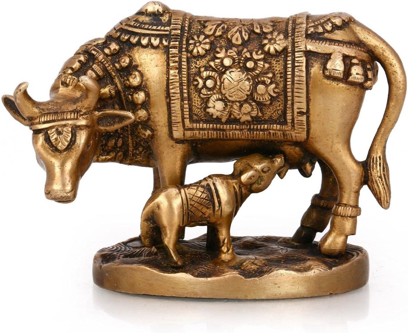 16x12x11 cm, 440 Gm Metal Gold Elegant Kamdhenu Cow and Calf Statue for Home Decor