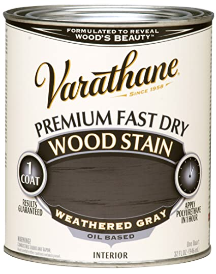 Varathane 269394 Premium Fast Dry Wood Stain 32 Oz Weathered Gray