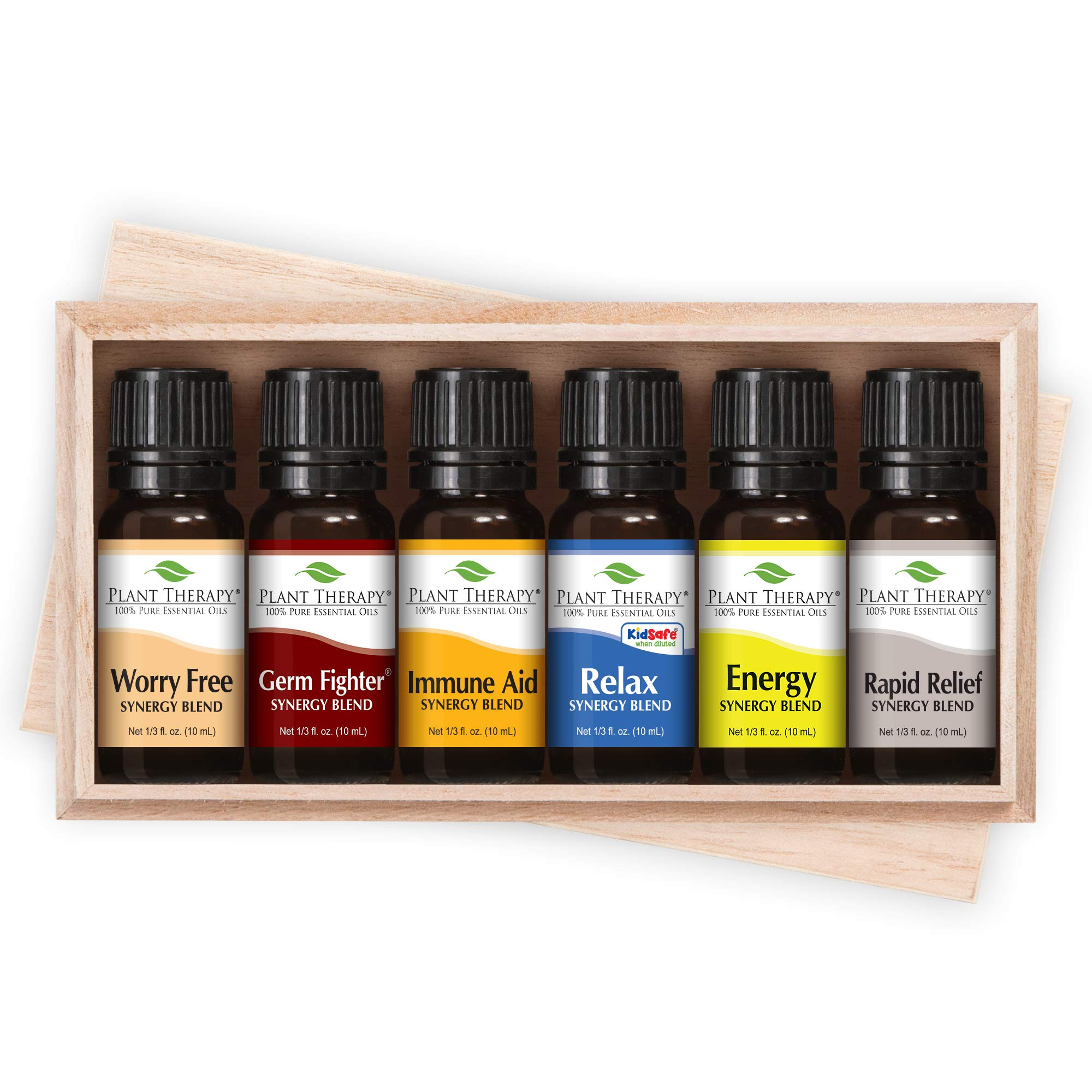 Plant Therapy Top 6 Synergies Set - Essential Oil Blends for Sleep, Stress, Muscle Relief, Energy, Health, in A Wooden Box 100% Pure, Undiluted, Natural Aromatherapy, Therapeutic Grade 10 mL by Plant Therapy