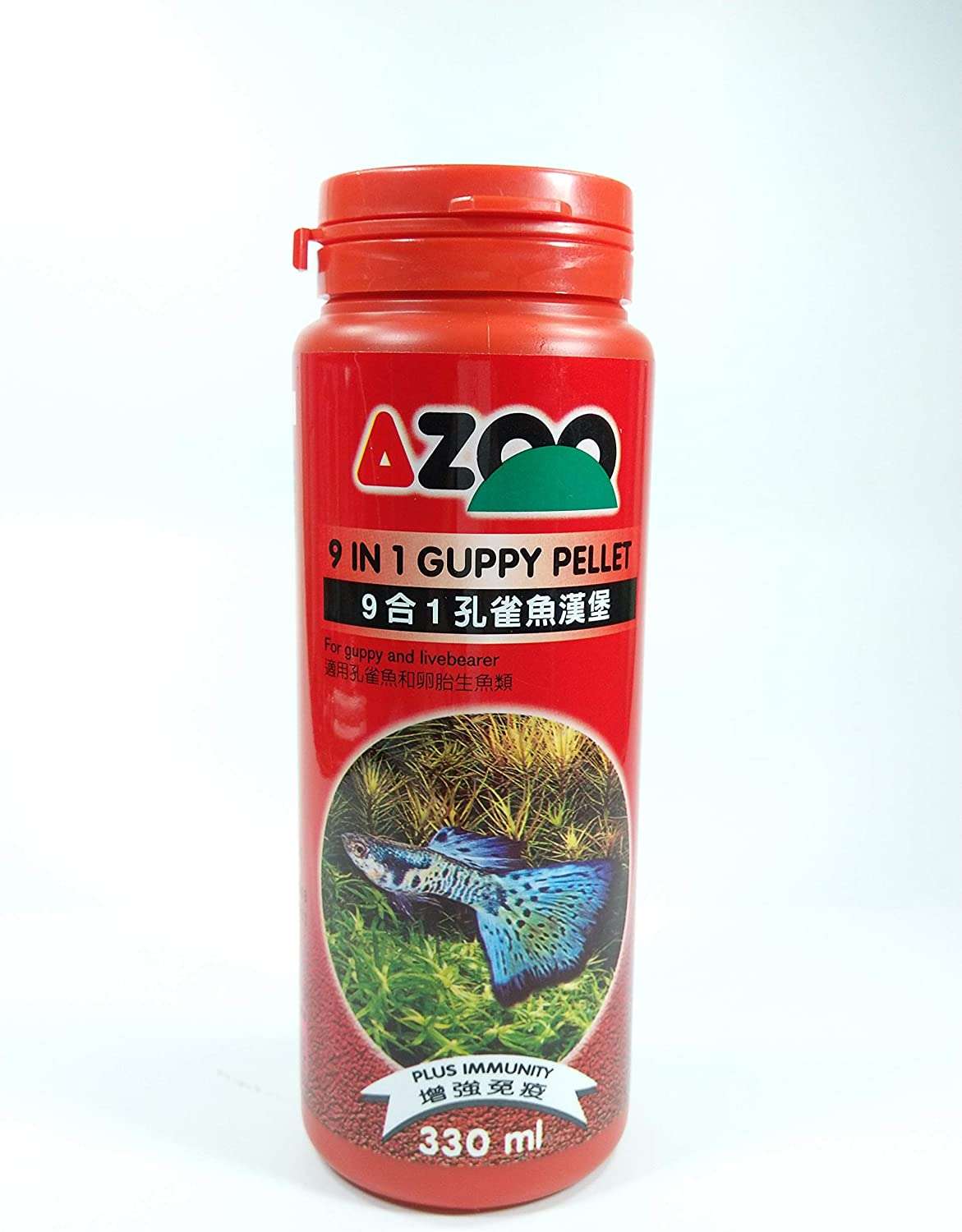 AZOO 9 in 1 Guppy Pellet for Guppy and Livebearer Fish Food 330ml