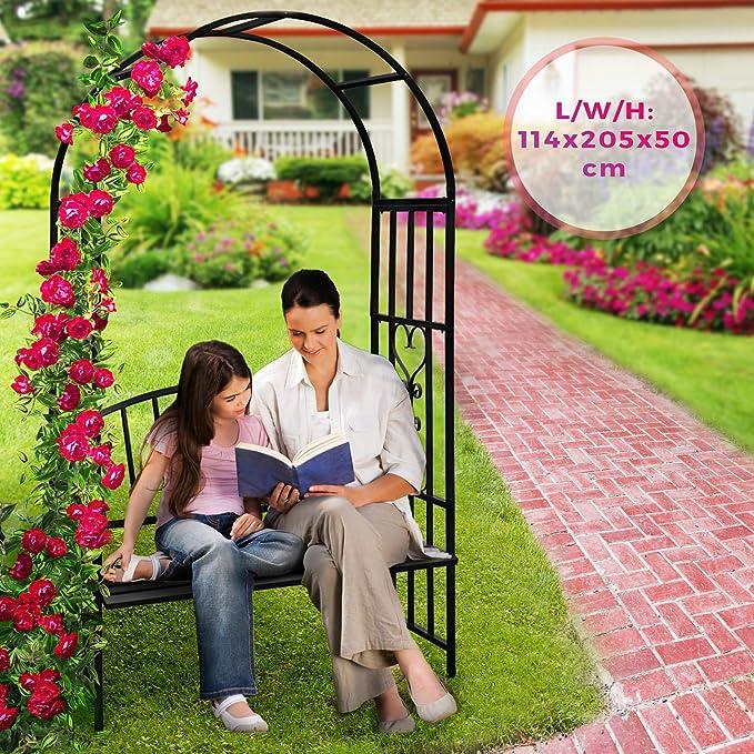 Arco de Metal para Rosas - con Puertas, 110x214x38cm, Acero Ø16mm, Negro - Metálico, Jardín, Rosales, Trepadoras, Enredaderas: Amazon.es: Jardín