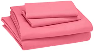 AmazonBasics Kid's Sheet Set - Soft, Easy-Wash Microfiber - Queen, Hot Pink