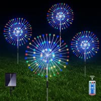 Outdoor Solar Garden Lights, 4 Pack 120 LED Copper Wire Waterproof Solar Garden Fireworks Lamp with Remote, 8 Modes…