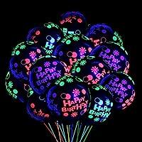 50pcs Happy Birthday Neon Glow Balloons Glow in Blacklight Black Light Fluorescent Balloons for Neon Birthday Glow Theme…