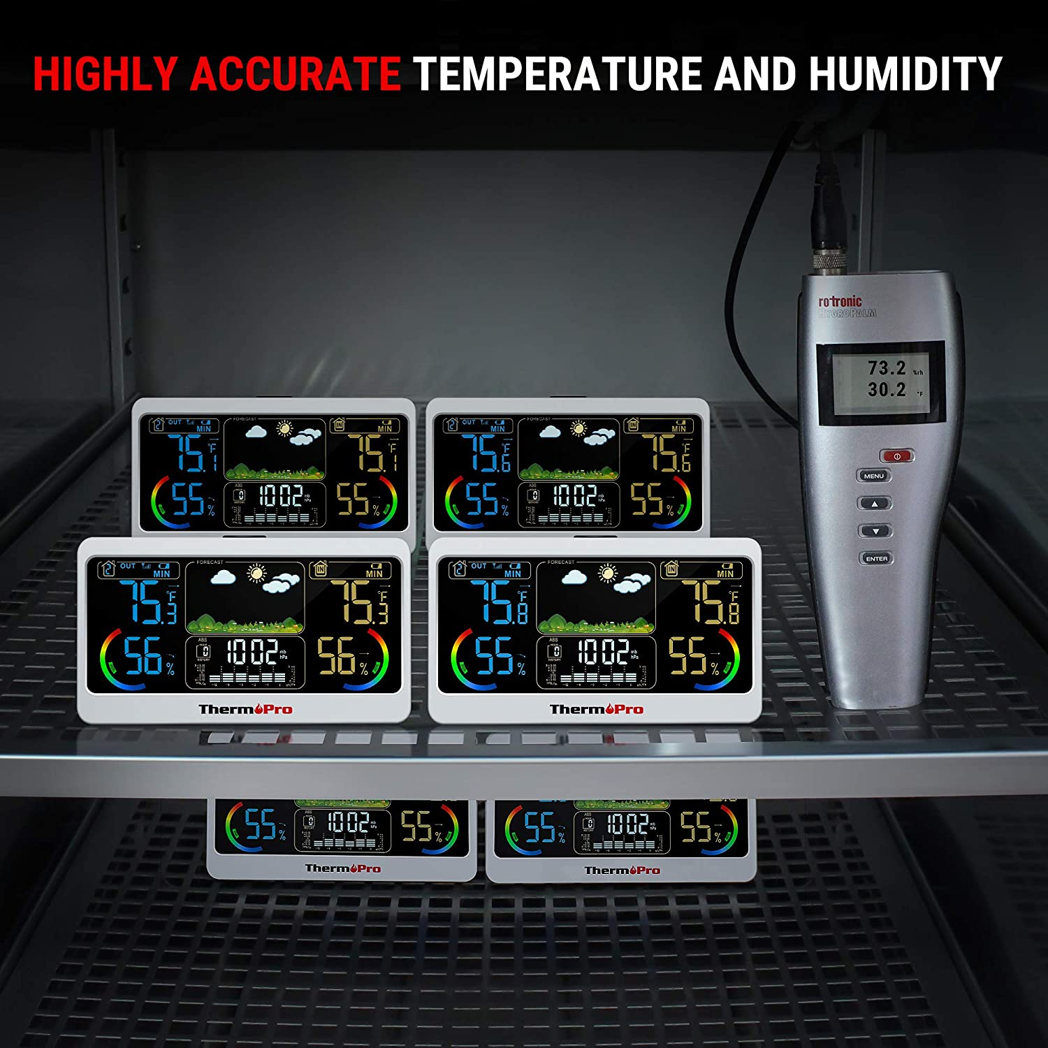 ThermoPro TP68B 500ft Weather Station Indoor Outdoor Thermometer Wireless Hygrometer Barometer Weather Forecast with 7 Large Color LCD Screen
