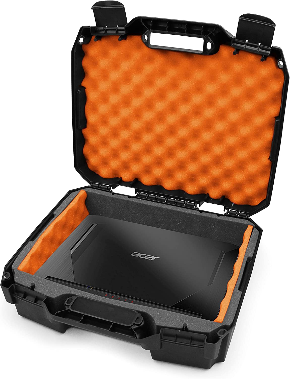 CASEMATIX 15.6 Hard Laptop Case Compatible with Acer Nitro 5 Gaming Laptop, Asus Zephyrus G14, MSI GS65 Stealth, Razer, Dell XPS 15, Gigabyte Aero 15 and 15 inch Gaming Laptop Accessories, Orange Foam