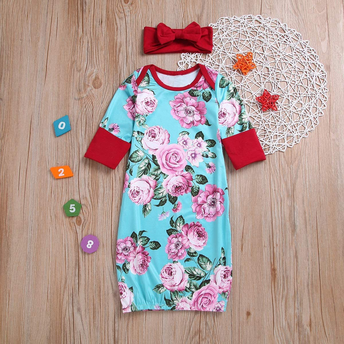 puseky Infant Toddler Baby Girls Floral Print Sleeping Gown Dress Sleepwear+Headband Outfits Set