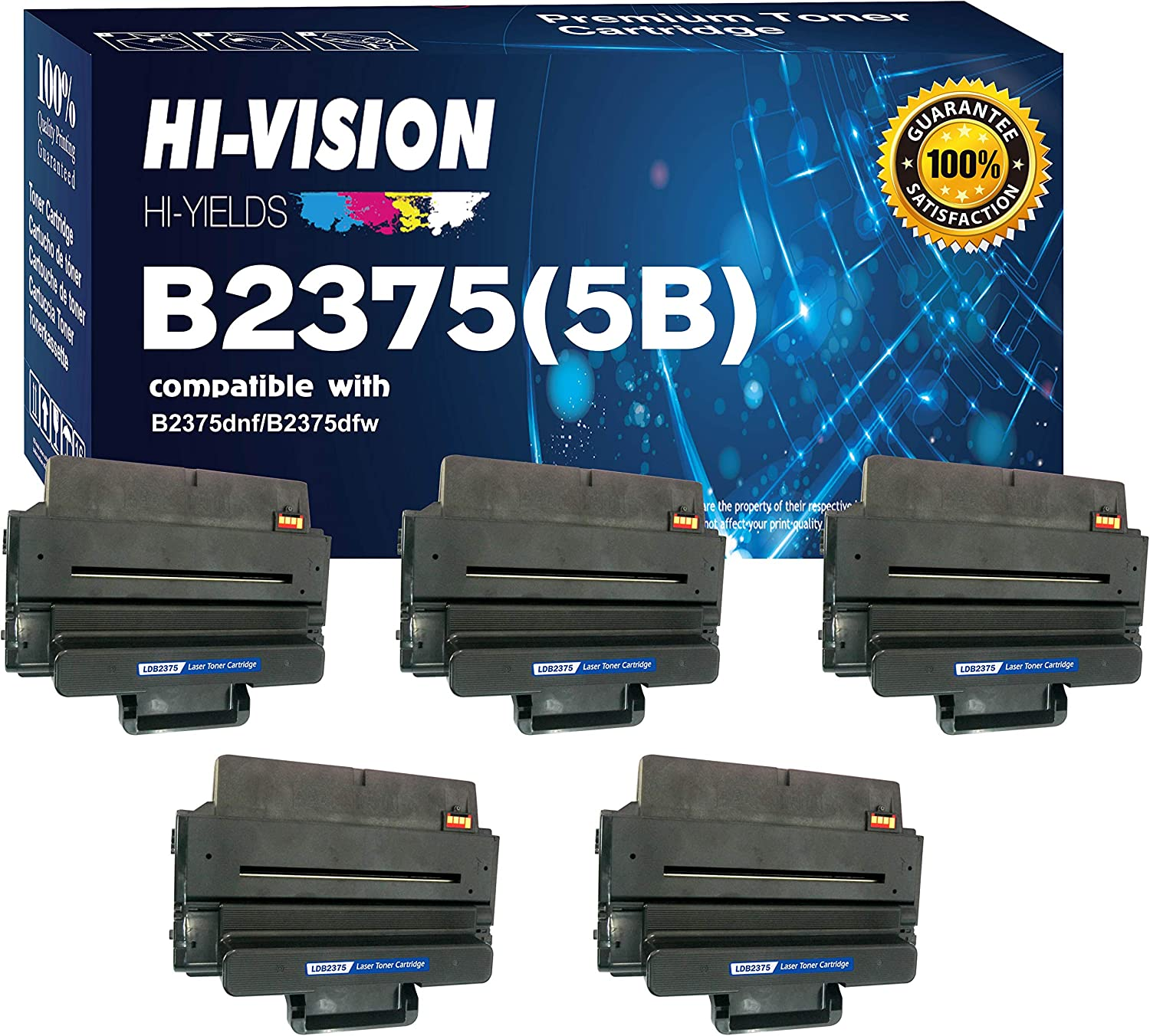 HI-VISION HI-YIELDS Compatible B2375 593-BBBJ, 8PTH4 (5 Pack) Black Toner Cartridge Replacement for B2375dnf, B2375dfw Multifunction Printers [10K Pages]