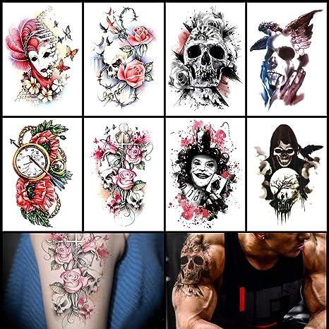 Oottati 8 Hojas Tatuajes Temporales Brazo Pierna Death Clown Card Skull Rose Reloj Máscara