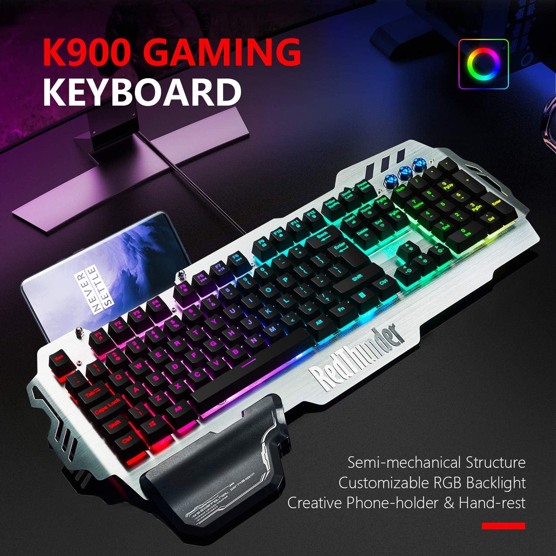 Hand Rest 2020 Version Semi-Mechanical with RGB Backlight Computer Laptop PC Mac Gamer RedThunder K900 Gaming Keyboard Phone Holder 25 Keys Anti-Ghosting Brushed Metal Cover