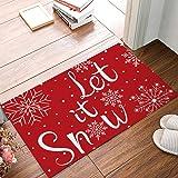 Christmas Decorative Doormat-Let It Snow Winter Snowflake,Non Slip Indoor/Outdoor/Front Door/Bathroom Entrance Mats Rugs Carp