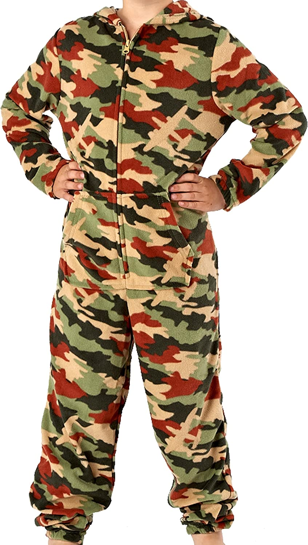 Boys Hidden Plane Camo Soft Beige and Green Black and Grey 160GSM Micro Fleece Hooded Onesie Lounge Suit Pyjammas Size Age 7/8, 9/10, 11/12, 13 Harvey James TRU000028/TRU000027